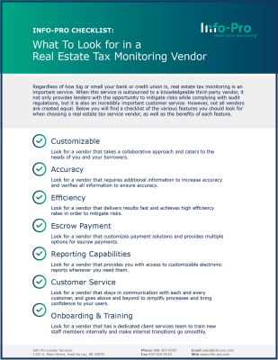 Checklist: What to Look for in a Real Estate Tax Monitoring Vendor